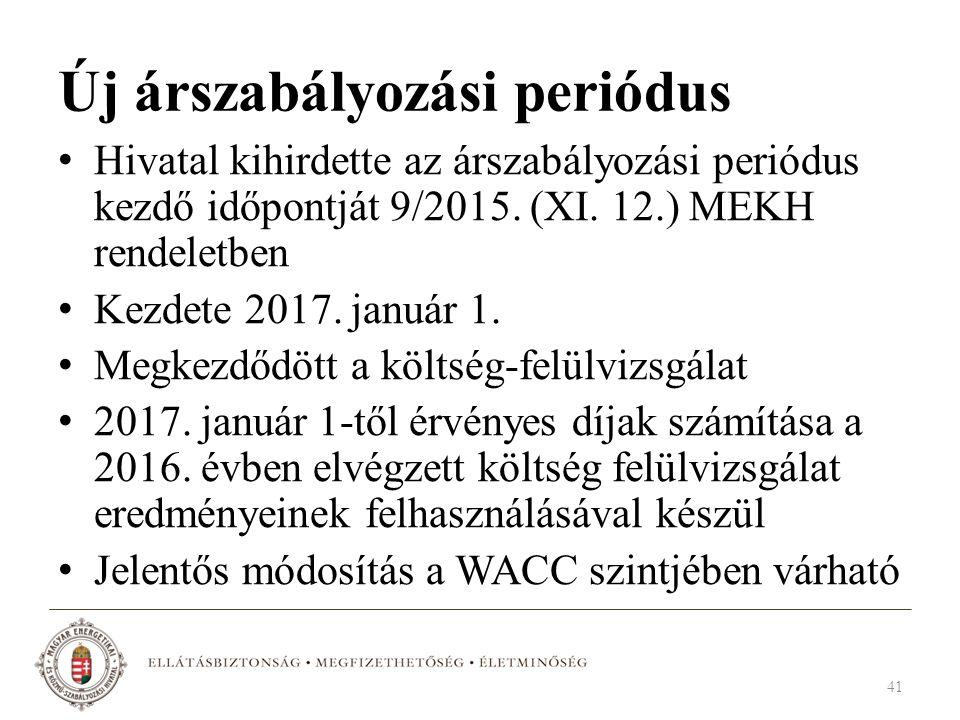 Új árszabályozási periódus Hivatal kihirdette az árszabályozási periódus kezdő időpontját 9/2015. (XI. 12.) MEKH rendeletben Kezdete 2017. január 1. M