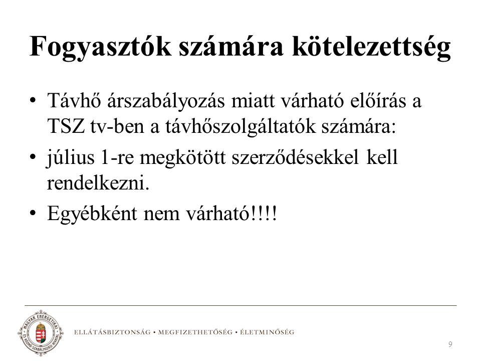 Fogyasztók számára kötelezettség Távhő árszabályozás miatt várható előírás a TSZ tv-ben a távhőszolgáltatók számára: július 1-re megkötött szerződések