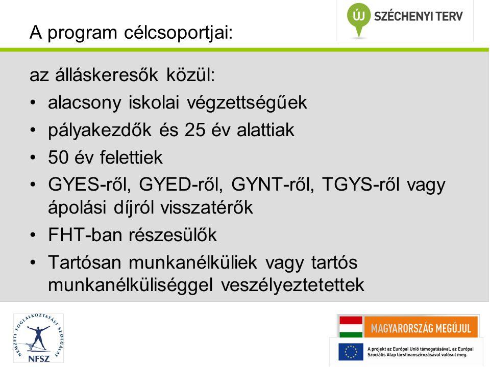 A program célcsoportjai: az álláskeresők közül: alacsony iskolai végzettségűek pályakezdők és 25 év alattiak 50 év felettiek GYES-ről, GYED-ről, GYNT-