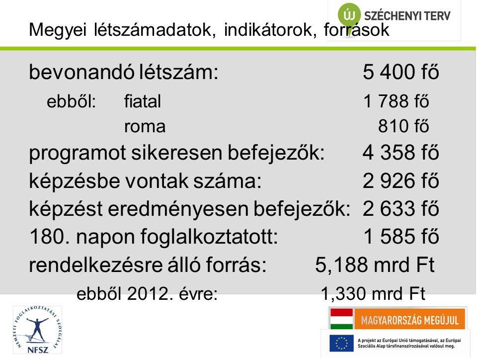 Megyei létszámadatok, indikátorok, források bevonandó létszám:5 400 fő ebből: fiatal1 788 fő roma 810 fő programot sikeresen befejezők:4 358 fő képzésbe vontak száma:2 926 fő képzést eredményesen befejezők:2 633 fő 180.