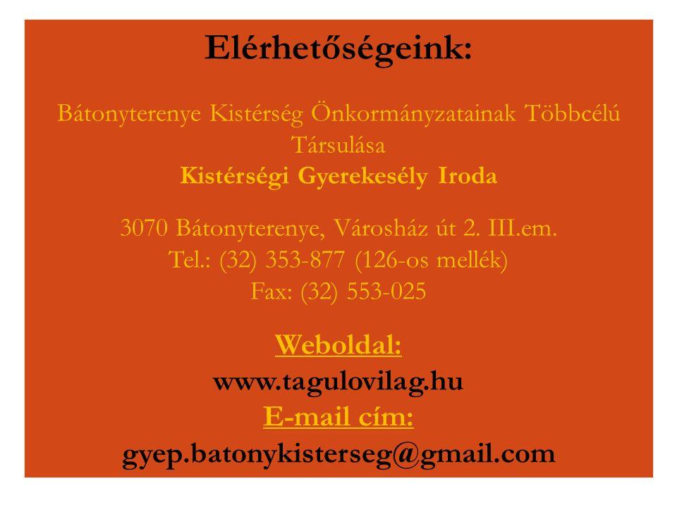 Elérhetőségeink: Bátonyterenye Kistérség Önkormányzatainak Többcélú Társulása Kistérségi Gyerekesély Iroda 3070 Bátonyterenye, Városház út 2. III.em.