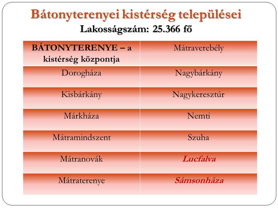 Bátonyterenyei kistérség települései Lakosságszám: 25.366 fő BÁTONYTERENYE – a kistérség központja Mátraverebély DorogházaNagybárkány KisbárkányNagyke