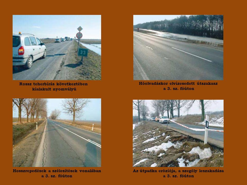 Rossz teherbírás következtében kialakult nyomvályú Hóolvadáskor elvizesedett útszakasz a 3.