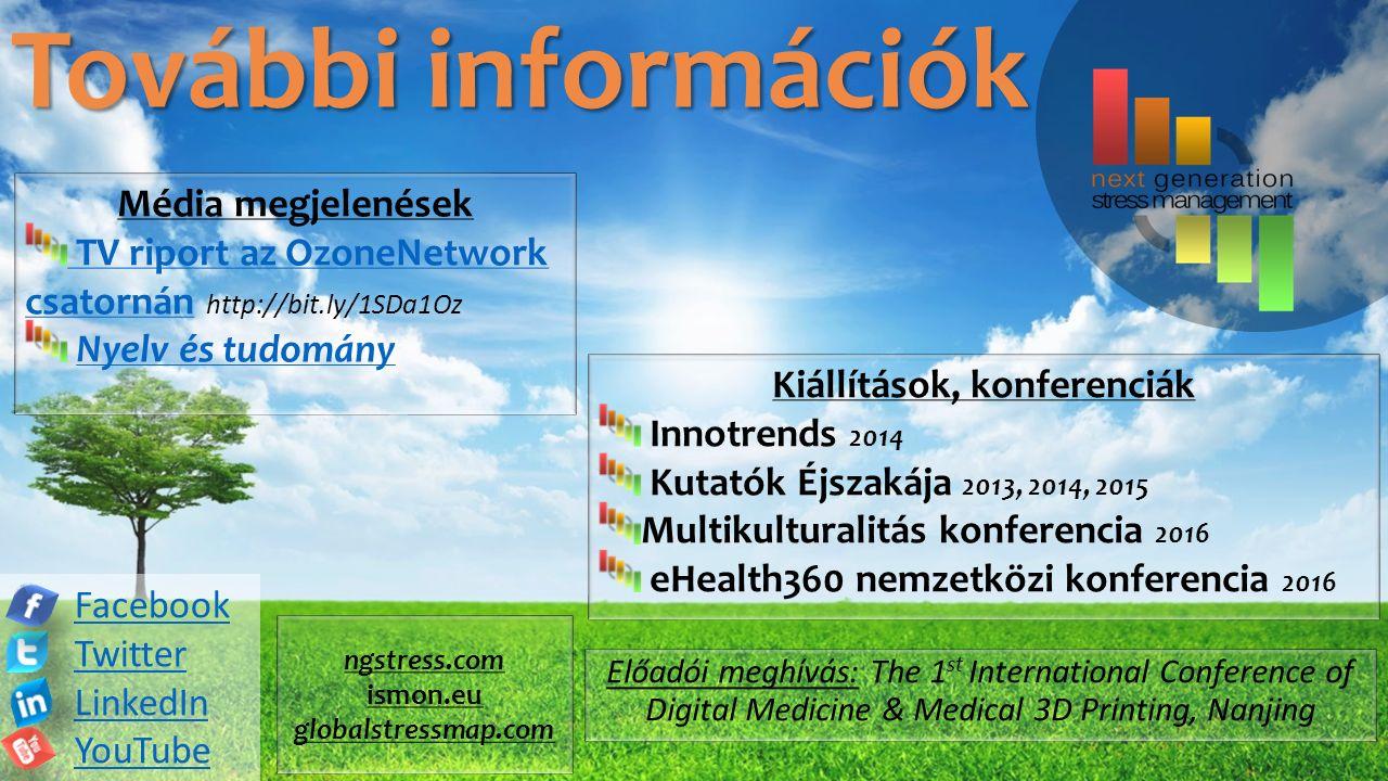 Facebook Twitter LinkedIn YouTube További információk Média megjelenések TV riport az OzoneNetwork csatornán TV riport az OzoneNetwork csatornán http://bit.ly/1SDa1Oz Nyelv és tudomány Kiállítások, konferenciák Innotrends 2014 Kutatók Éjszakája 2013, 2014, 2015 Multikulturalitás konferencia 2016 eHealth360 nemzetközi konferencia 2016 Előadói meghívás: The 1 st International Conference of Digital Medicine & Medical 3D Printing, Nanjing ngstress.com ismon.eu globalstressmap.com