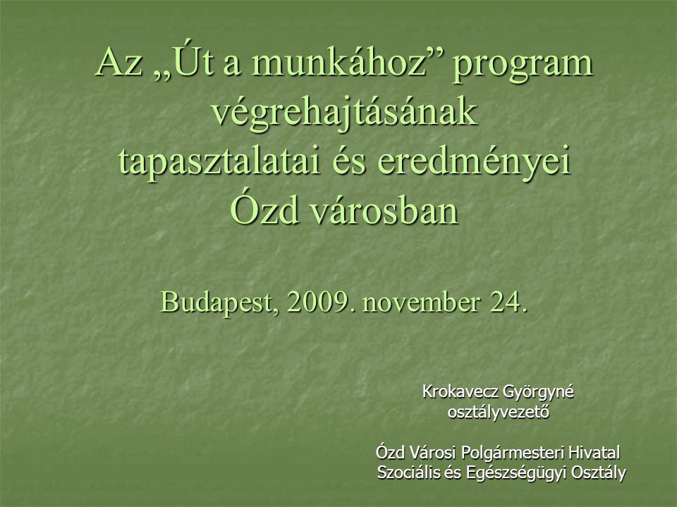 """Az """"Út a munkához program végrehajtásának tapasztalatai és eredményei Ózd városban Budapest, 2009."""