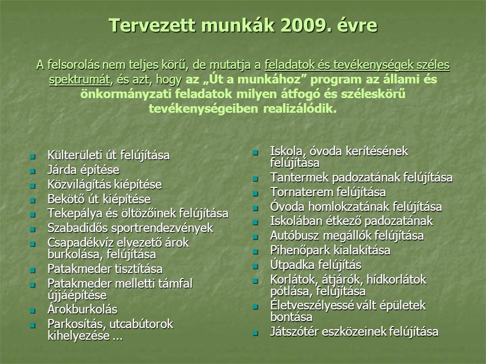 Tervezett munkák 2009.