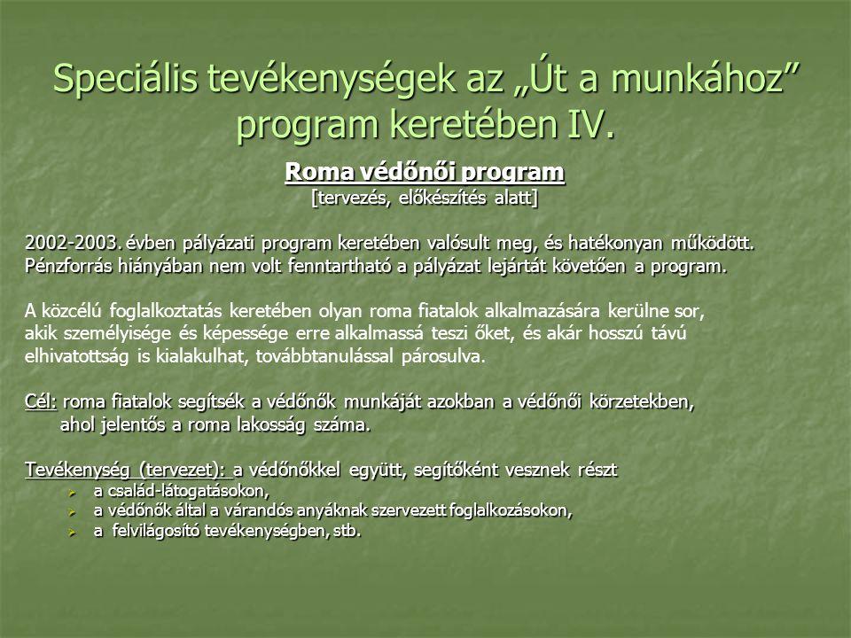 """Speciális tevékenységek az """"Út a munkához program keretében IV."""