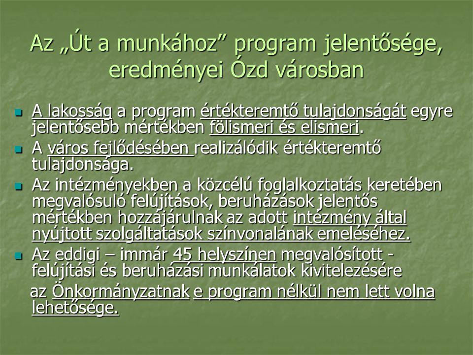 """Az """"Út a munkához program jelentősége, eredményei Ózd városban A lakosság a program értékteremtő tulajdonságát egyre jelentősebb mértékben fölismeri és elismeri."""
