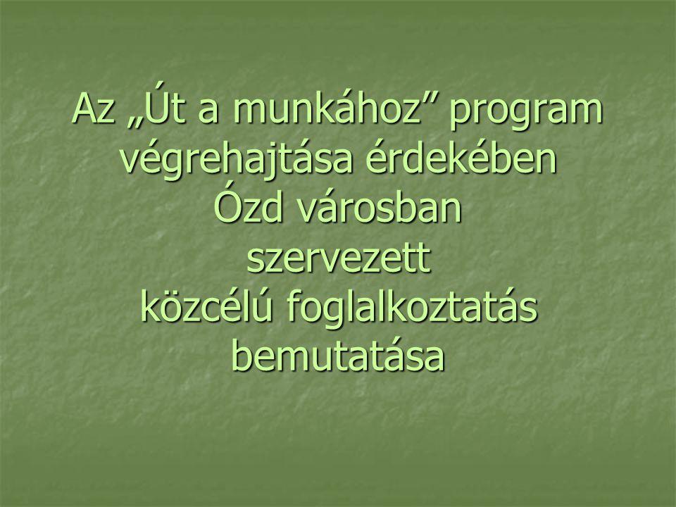 """Az """"Út a munkához program végrehajtása érdekében Ózd városban szervezett közcélú foglalkoztatás bemutatása"""