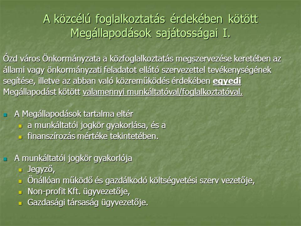 A közcélú foglalkoztatás érdekében kötött Megállapodások sajátosságai I.