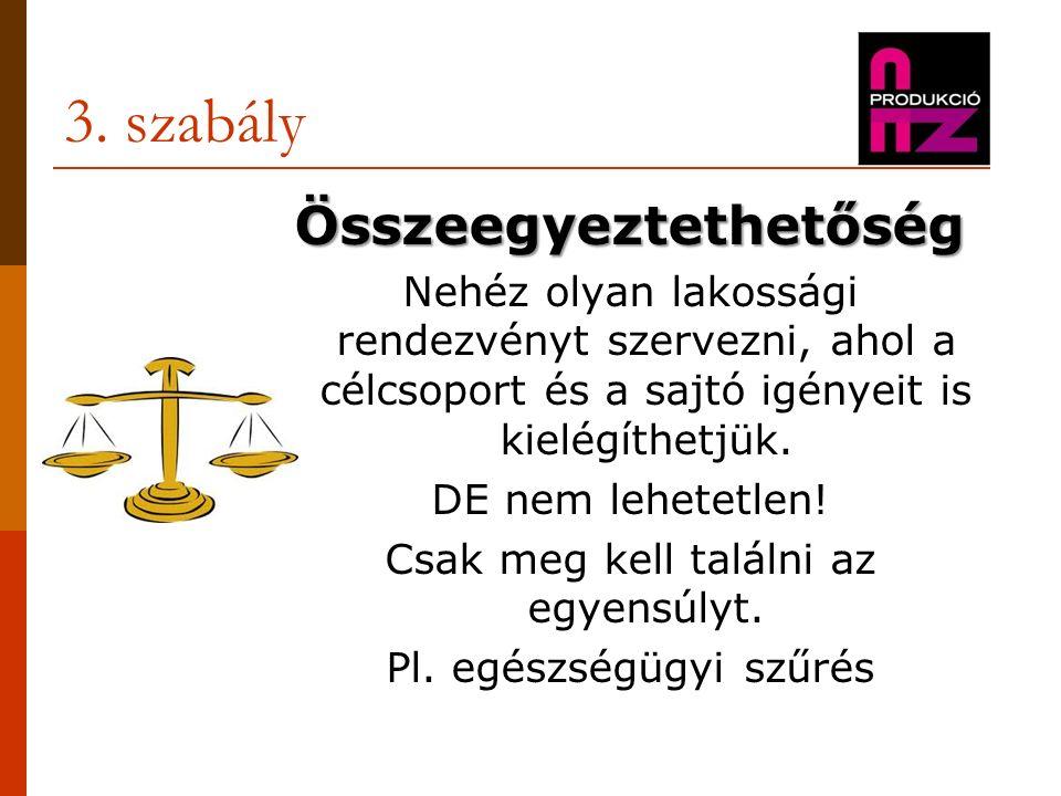 3. szabály Összeegyeztethetőség Nehéz olyan lakossági rendezvényt szervezni, ahol a célcsoport és a sajtó igényeit is kielégíthetjük. DE nem lehetetle