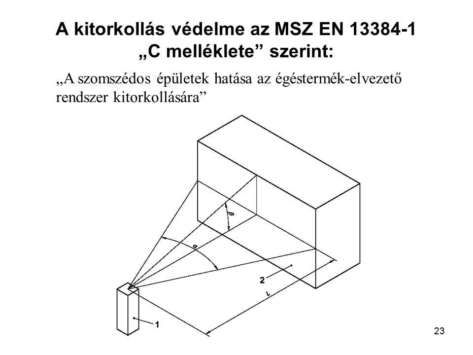 22 Az égéstermék-elvezető berendezés kitorkolásánál akkor kell feltételezni, hogy a szomszédos épületek befolyásolják a működését, ha –az égéstermék-elvezető berendezés kitorkolásának vízszintes távolsága (L) a szomszédos épülettől kisebb, mint 15 m és –az épület az égéstermék-elvezető berendezés kitorkolásától nézve vízszintesen 30°-nál nagyobb szög alatt látszik (  szög), és –az épület legfelső éle az égéstermék-elvezető berendezés kitorkolásától nézve függőlegesen 10°-nál nagyobb szög alatt látszik (  szög)