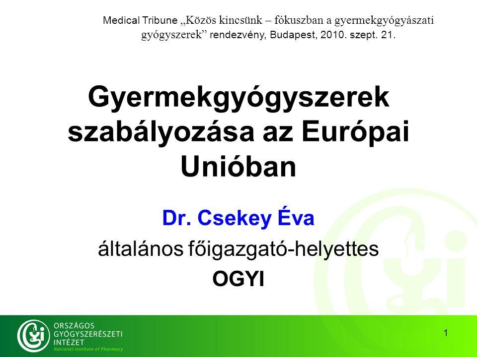 2 Történet Alap: az Európai Parlament és a Tanács 1906/2006 (EK) Rendelete a gyermekgyógyászati alkalmazású gyógyszerekről ezért ne keressünk hazai jogszabályt: a közösségi Rendelet – ellentétben a Direktívával (=jogi irányelv) – közvetlenül hatályos a tagállamokban.