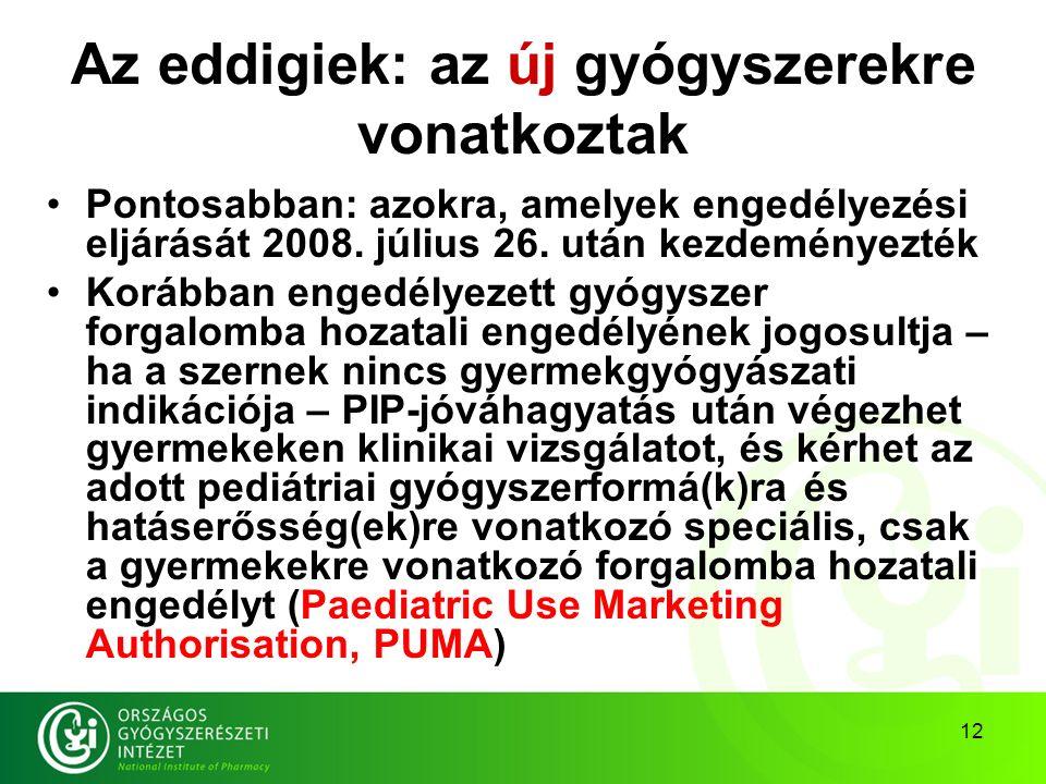 12 Az eddigiek: az új gyógyszerekre vonatkoztak Pontosabban: azokra, amelyek engedélyezési eljárását 2008.