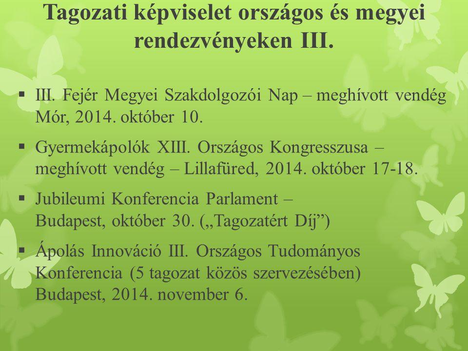 Tagozati képviselet országos és megyei rendezvényeken III.