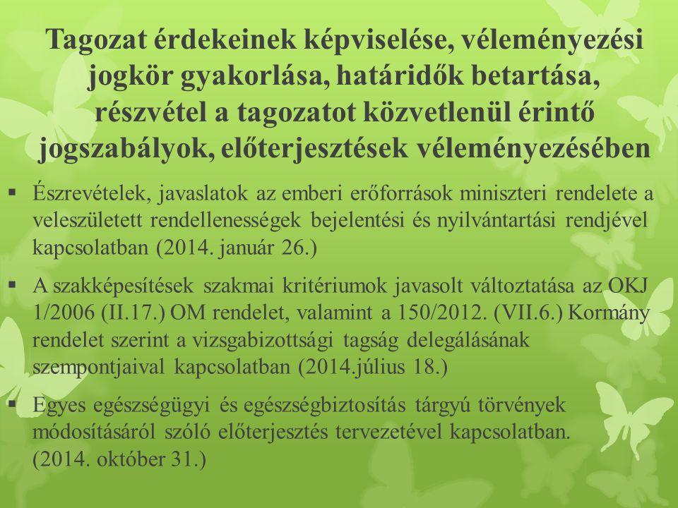 Tagozat érdekeinek képviselése, véleményezési jogkör gyakorlása, határidők betartása, részvétel a tagozatot közvetlenül érintő jogszabályok, előterjesztések véleményezésében  Észrevételek, javaslatok az emberi erőforrások miniszteri rendelete a veleszületett rendellenességek bejelentési és nyilvántartási rendjével kapcsolatban (2014.
