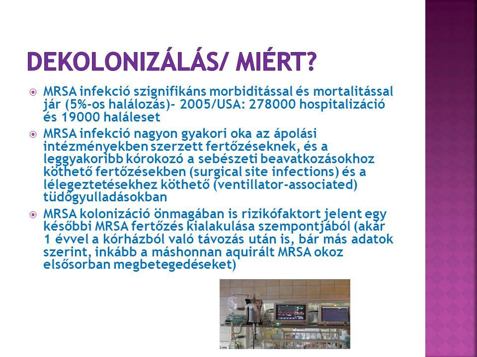  MRSA infekció szignifikáns morbiditással és mortalitással jár (5%-os halálozás)- 2005/USA: 278000 hospitalizáció és 19000 haláleset  MRSA infekció nagyon gyakori oka az ápolási intézményekben szerzett fertőzéseknek, és a leggyakoribb kórokozó a sebészeti beavatkozásokhoz köthető fertőzésekben (surgical site infections) és a lélegeztetésekhez köthető (ventillator-associated) tüdőgyulladásokban  MRSA kolonizáció önmagában is rizikófaktort jelent egy későbbi MRSA fertőzés kialakulása szempontjából (akár 1 évvel a kórházból való távozás után is, bár más adatok szerint, inkább a máshonnan aquirált MRSA okoz elsősorban megbetegedéseket)
