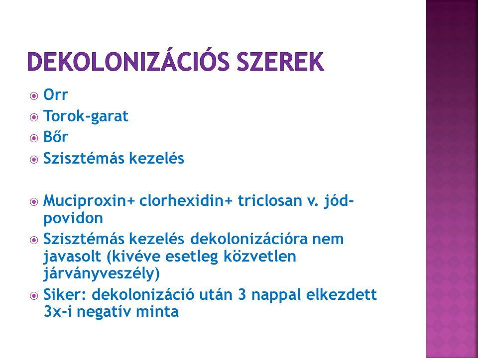  Orr  Torok-garat  Bőr  Szisztémás kezelés  Muciproxin+ clorhexidin+ triclosan v.