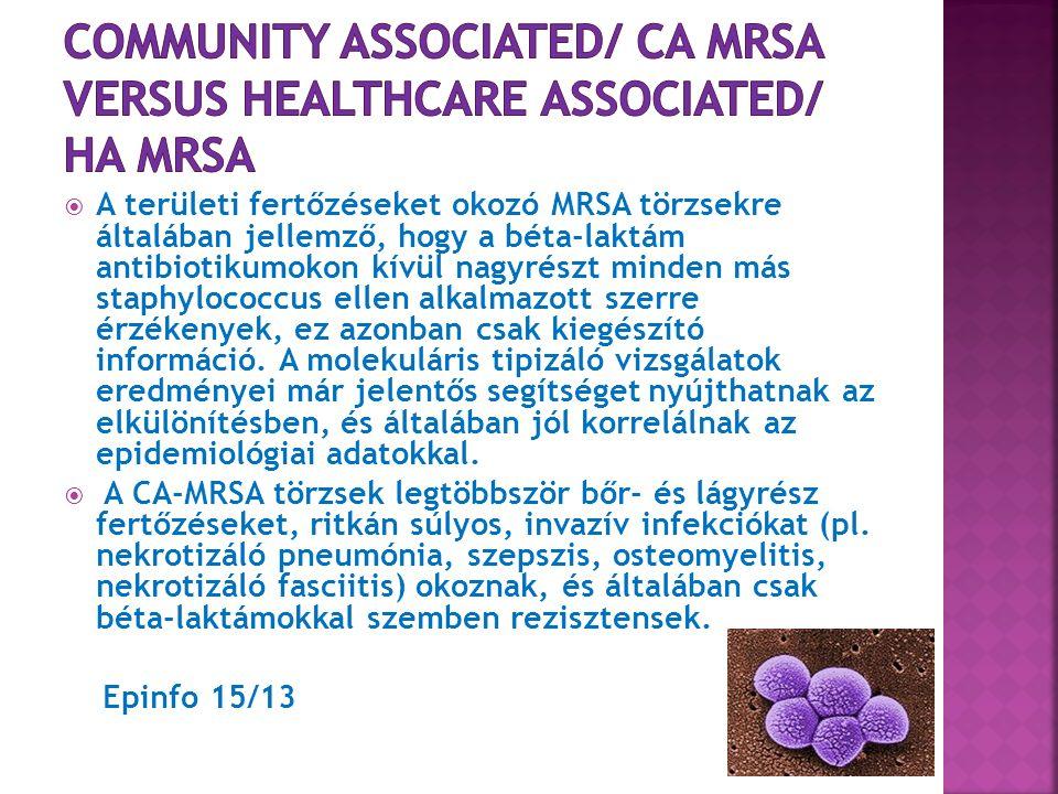  Rezisztencia gyakran társul: béta- laktám, macrolid, tetracyclin és aminoglikozid rezisztenciával  Általában érzékeny: vancomycinre (de!VISA, VRSA), teicoplaninra, muciprocinra, rifampicinre, trimetoprim/ sulfmetoxazolra