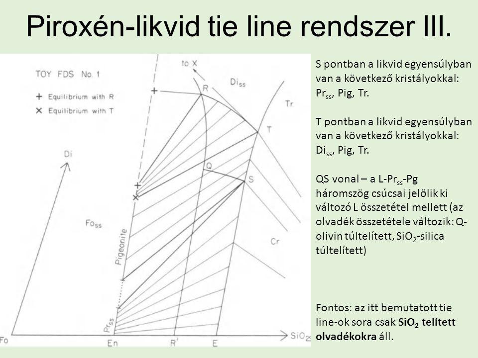 Piroxén-likvid tie line rendszer III. S pontban a likvid egyensúlyban van a következő kristályokkal: Pr ss, Pig, Tr. T pontban a likvid egyensúlyban v
