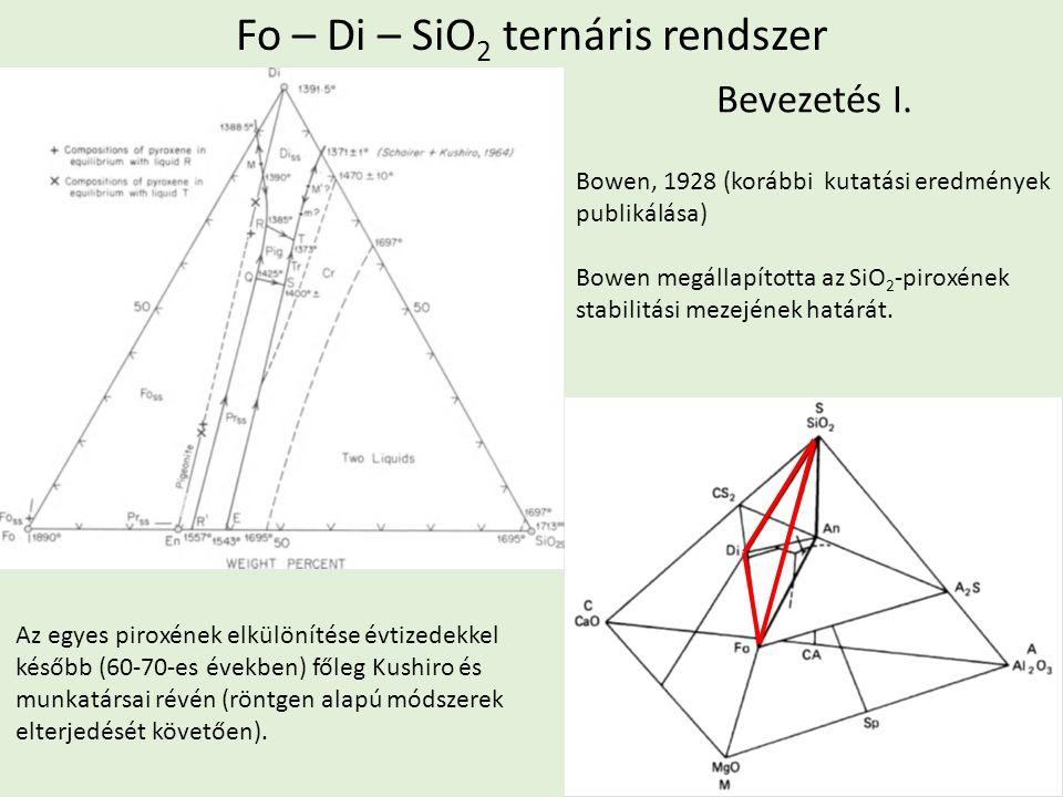 Fo – Di – SiO 2 ternáris rendszer Bowen, 1928 (korábbi kutatási eredmények publikálása) Bowen megállapította az SiO 2 -piroxének stabilitási mezejének