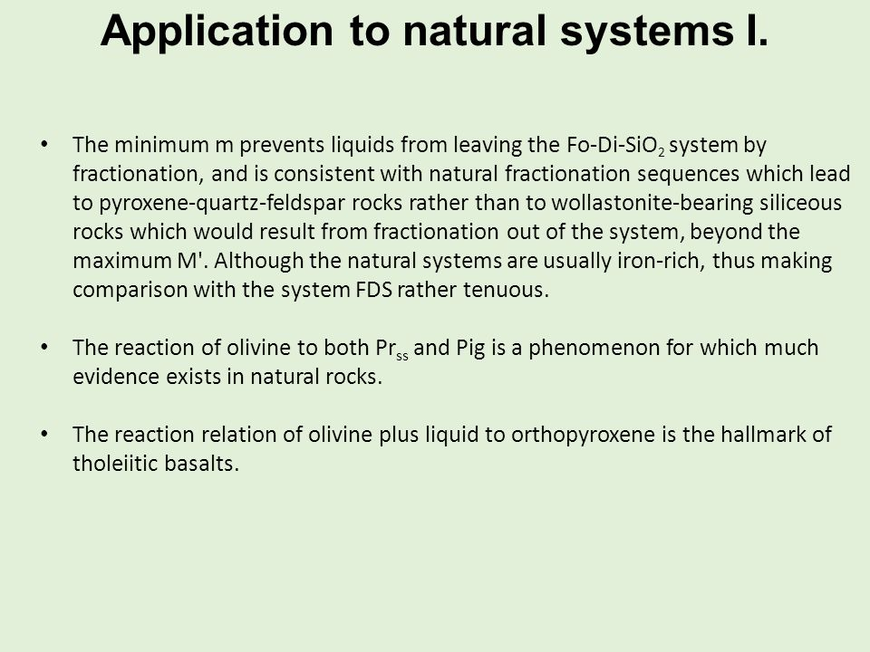 Application to natural systems I.