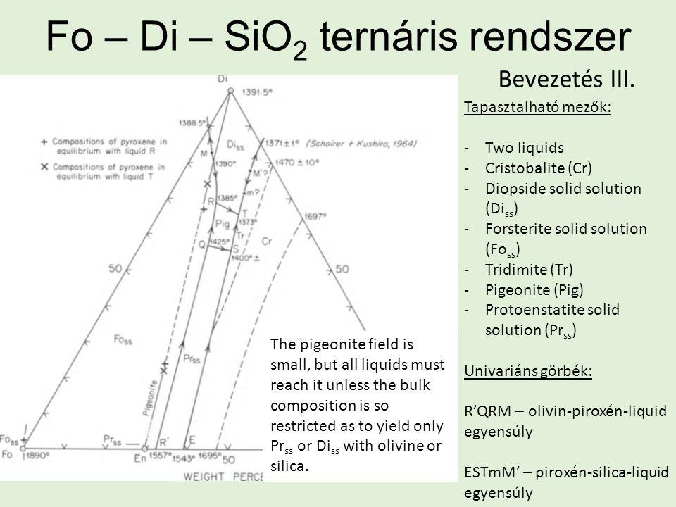 Fo – Di – SiO 2 ternáris rendszer Tapasztalható mezők: -Two liquids -Cristobalite (Cr) -Diopside solid solution (Di ss ) -Forsterite solid solution (Fo ss ) -Tridimite (Tr) -Pigeonite (Pig) -Protoenstatite solid solution (Pr ss ) Univariáns görbék: R'QRM – olivin-piroxén-liquid egyensúly ESTmM' – piroxén-silica-liquid egyensúly Bevezetés III.