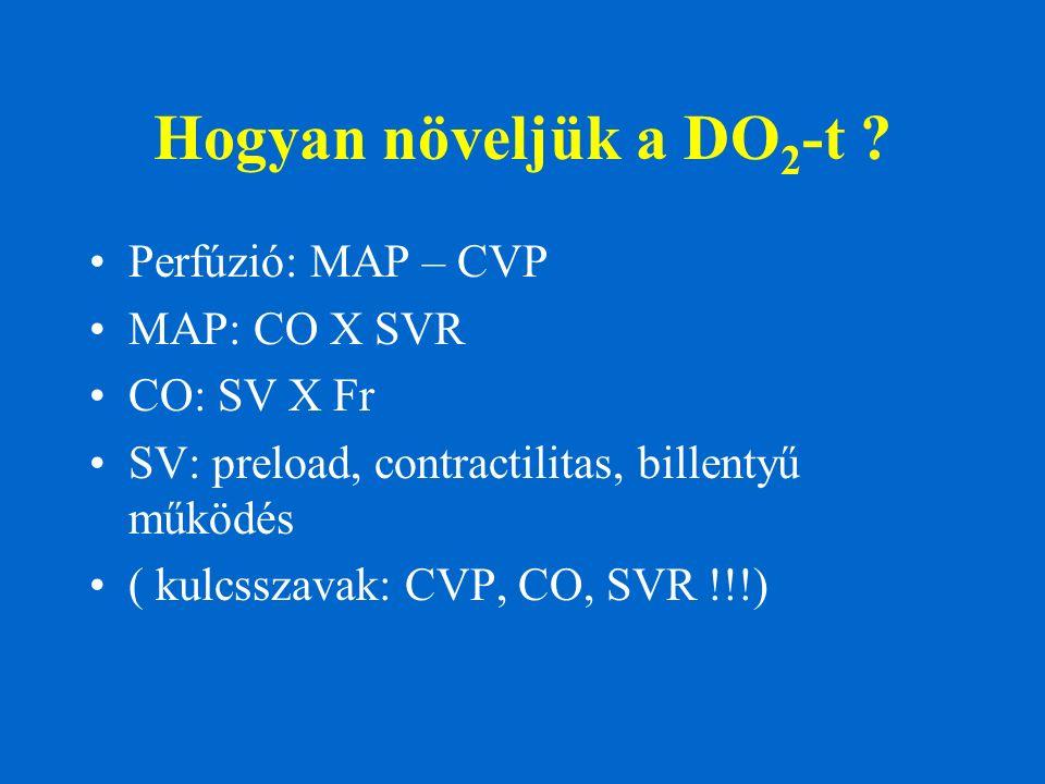 Hogyan növeljük a DO 2 -t ? Perfúzió: MAP – CVP MAP: CO X SVR CO: SV X Fr SV: preload, contractilitas, billentyű működés ( kulcsszavak: CVP, CO, SVR !