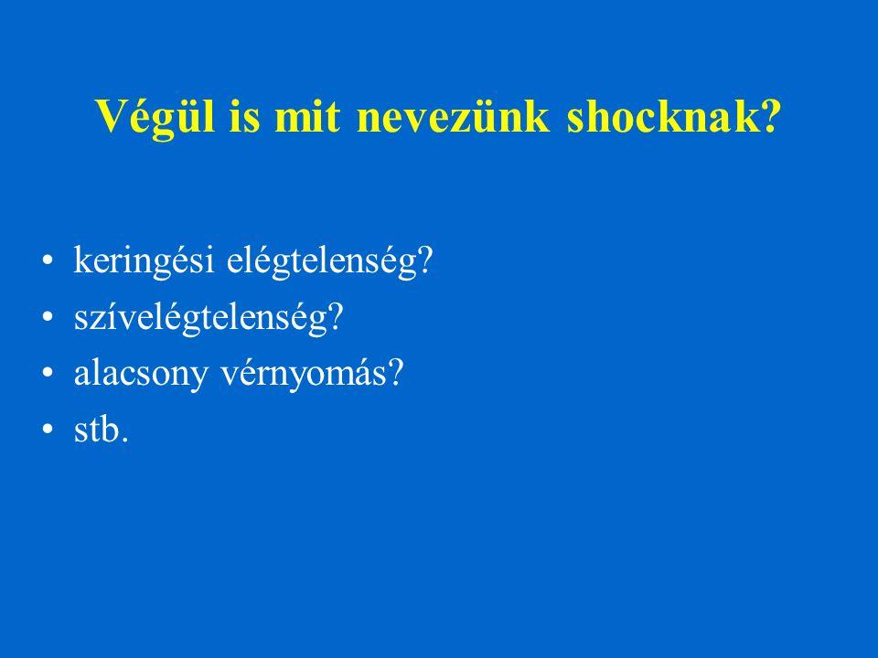 Végül is mit nevezünk shocknak? keringési elégtelenség? szívelégtelenség? alacsony vérnyomás? stb.