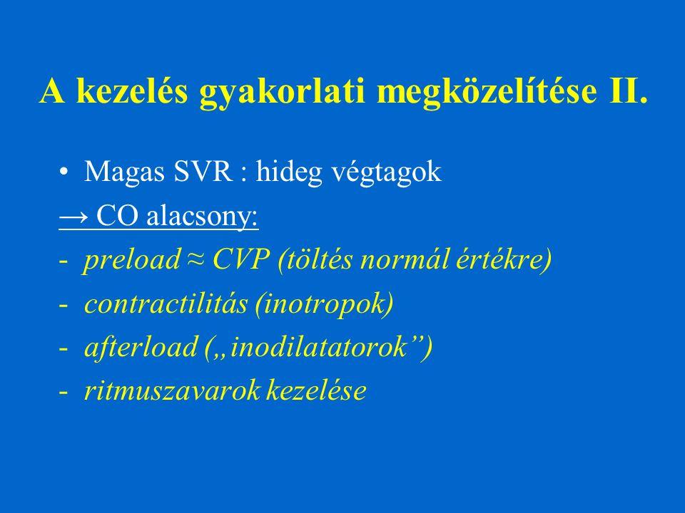 A kezelés gyakorlati megközelítése II. Magas SVR : hideg végtagok → CO alacsony: -preload ≈ CVP (töltés normál értékre) -contractilitás (inotropok) -a