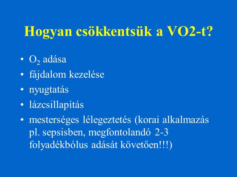 Hogyan csökkentsük a VO2-t? O 2 adása fájdalom kezelése nyugtatás lázcsillapítás mesterséges lélegeztetés (korai alkalmazás pl. sepsisben, megfontolan