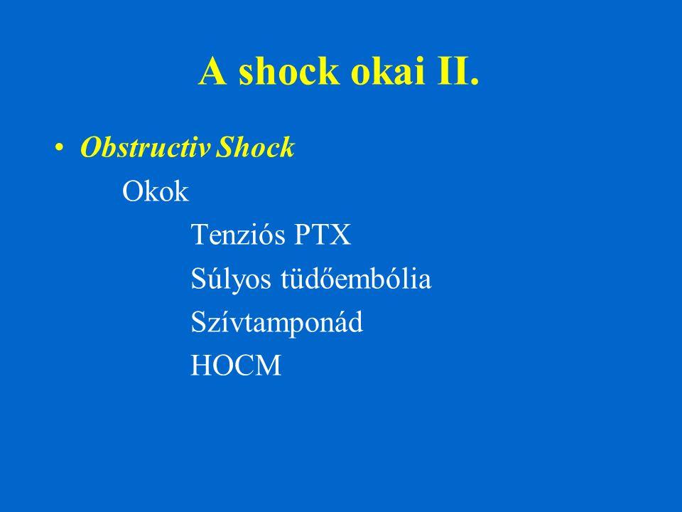A shock okai II. Obstructiv Shock Okok Tenziós PTX Súlyos tüdőembólia Szívtamponád HOCM