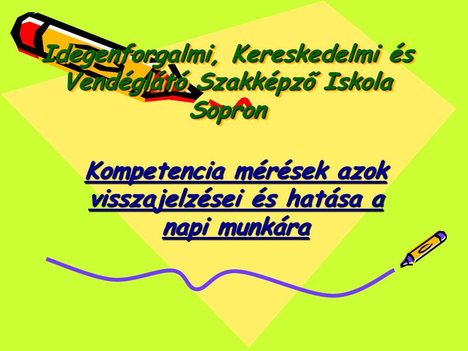 Idegenforgalmi, Kereskedelmi és Vendéglátó Szakképző Iskola Sopron Kompetencia mérések azok visszajelzései és hatása a napi munkára