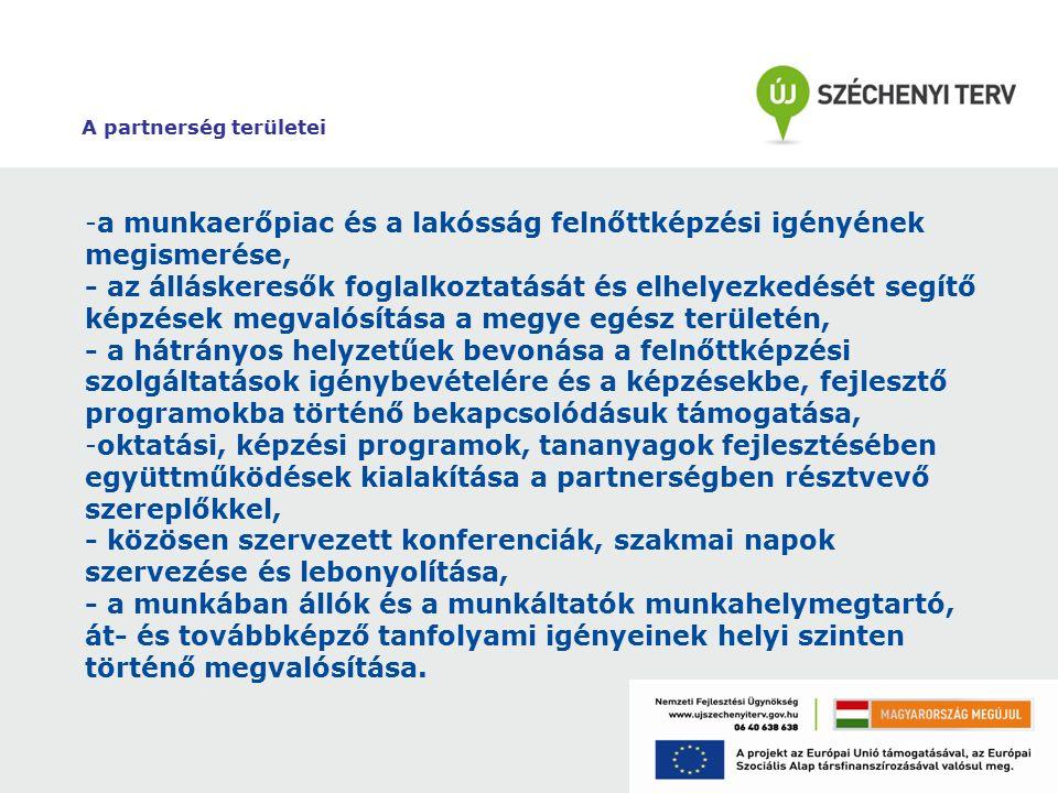 A partnerség területei -a munkaerőpiac és a lakósság felnőttképzési igényének megismerése, - az álláskeresők foglalkoztatását és elhelyezkedését segít
