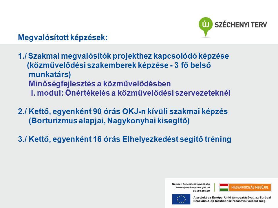 Megvalósított képzések: 1./ Szakmai megvalósítók projekthez kapcsolódó képzése (közművelődési szakemberek képzése - 3 fő belső munkatárs) Minőségfejlesztés a közművelődésben I.