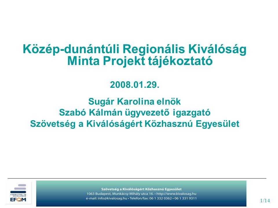 2/14 SZÖVETSÉG A KIVÁLÓSÁGÉRT KÖZHASZNÚ EGYESÜLET TAGI SZERVEZŐDÉSŰ, NON PROFIT Az Európai Minőségmenedzsment Alapítvány (EFQM) Nemzeti Partnerszervezete Működés kezdete: 2006.