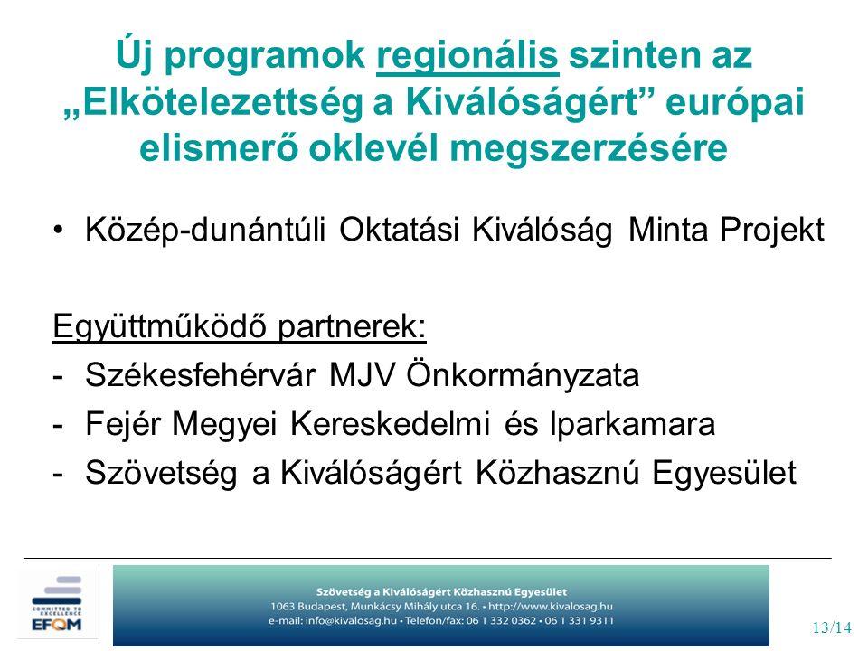 """13/14 Új programok regionális szinten az """"Elkötelezettség a Kiválóságért"""" európai elismerő oklevél megszerzésére Közép-dunántúli Oktatási Kiválóság Mi"""