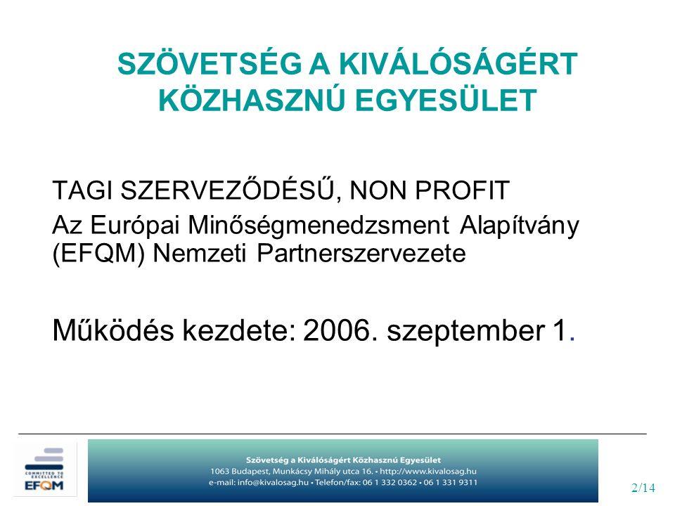 """13/14 Új programok regionális szinten az """"Elkötelezettség a Kiválóságért európai elismerő oklevél megszerzésére Közép-dunántúli Oktatási Kiválóság Minta Projekt Együttműködő partnerek: -Székesfehérvár MJV Önkormányzata -Fejér Megyei Kereskedelmi és Iparkamara -Szövetség a Kiválóságért Közhasznú Egyesület"""