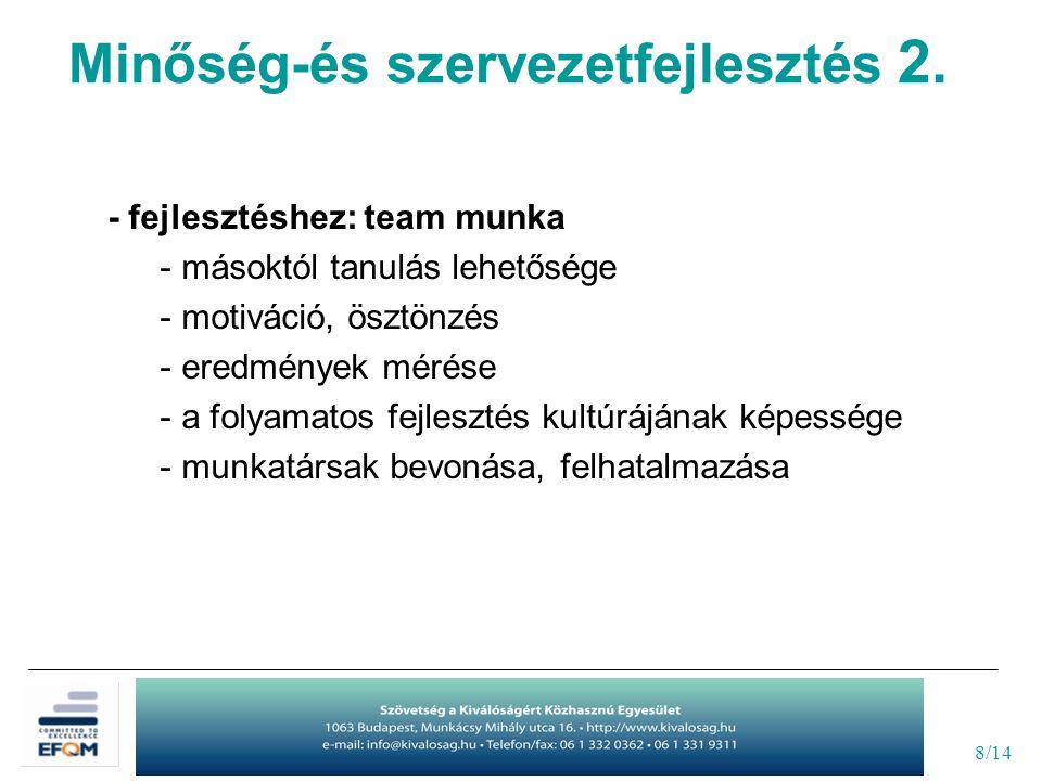 8/14 - fejlesztéshez: team munka - másoktól tanulás lehetősége - motiváció, ösztönzés - eredmények mérése - a folyamatos fejlesztés kultúrájának képes