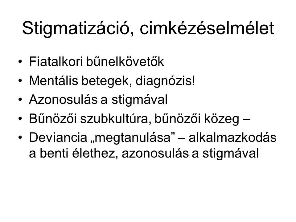 Stigmatizáció, cimkézéselmélet Fiatalkori bűnelkövetők Mentális betegek, diagnózis.