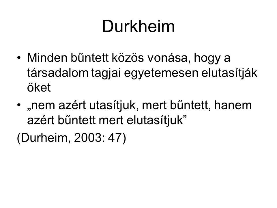 """Durkheim Minden bűntett közös vonása, hogy a társadalom tagjai egyetemesen elutasítják őket """"nem azért utasítjuk, mert bűntett, hanem azért bűntett mert elutasítjuk (Durheim, 2003: 47)"""