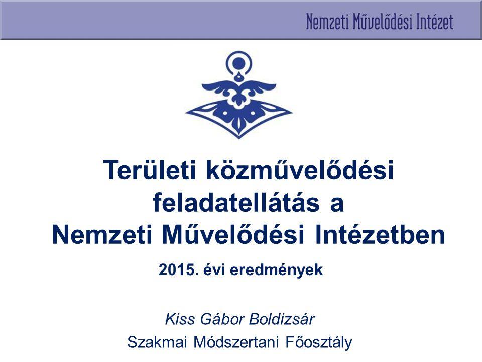 Területi közművelődési feladatellátás a Nemzeti Művelődési Intézetben 2015. évi eredmények Kiss Gábor Boldizsár Szakmai Módszertani Főosztály