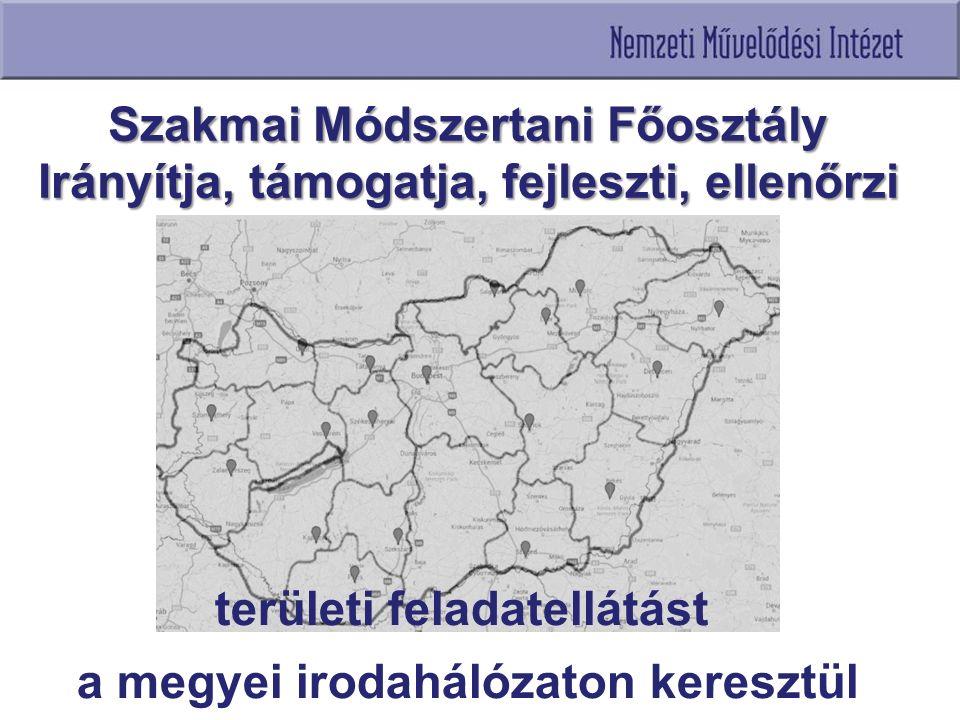 területi feladatellátást a megyei irodahálózaton keresztül Szakmai Módszertani Főosztály Irányítja, támogatja, fejleszti, ellenőrzi