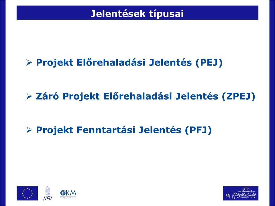 Jelentések típusai  Projekt Előrehaladási Jelentés (PEJ)  Záró Projekt Előrehaladási Jelentés (ZPEJ)  Projekt Fenntartási Jelentés (PFJ)