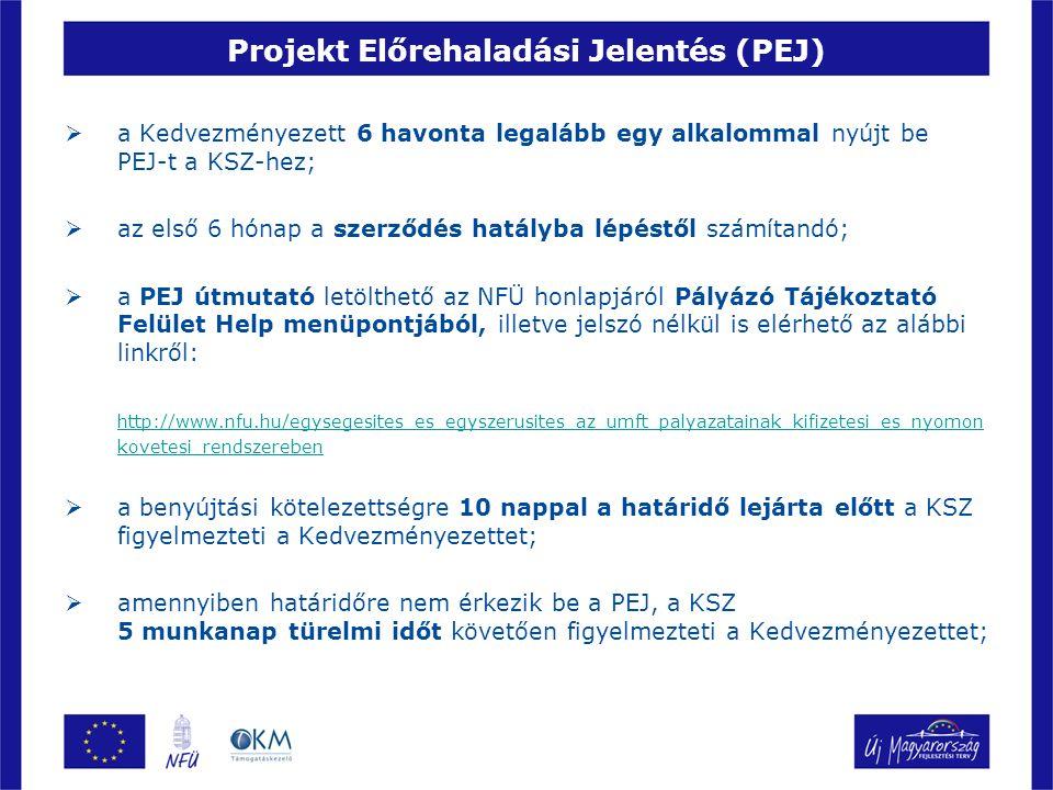 Projekt Előrehaladási Jelentés (PEJ)  ha a felszólításban meghatározott 15 munkanapos határidőn belül sem érkezik be a PEJ, akkor a KSZ kezdeményezi a kifizetések azonnali felfüggesztését és a késedelmi kötbér érvényesítését;  amennyiben további 15 napon belül sem érkezik be, a támogatási szerződés felfüggesztésére kerülhet sor;  a PEJ-t 1 példányban kell benyújtani, elektronikusan a Pályázó Tájékoztató Felületen az on-line PEJ-kitöltő alkalmazás használatával, papír alapon a (Fő)kedvezményezett aláírásra jogosult, aláírási címpéldánnyal vagy felhatalmazással rendelkező képviselője aláírásával ellátva;  az előrehaladást igazoló csatolandó mellékleteket csak elektronikus formában;  eltérés esetén a papír alapú és aláírt jelentés tekintendő hitelesnek!