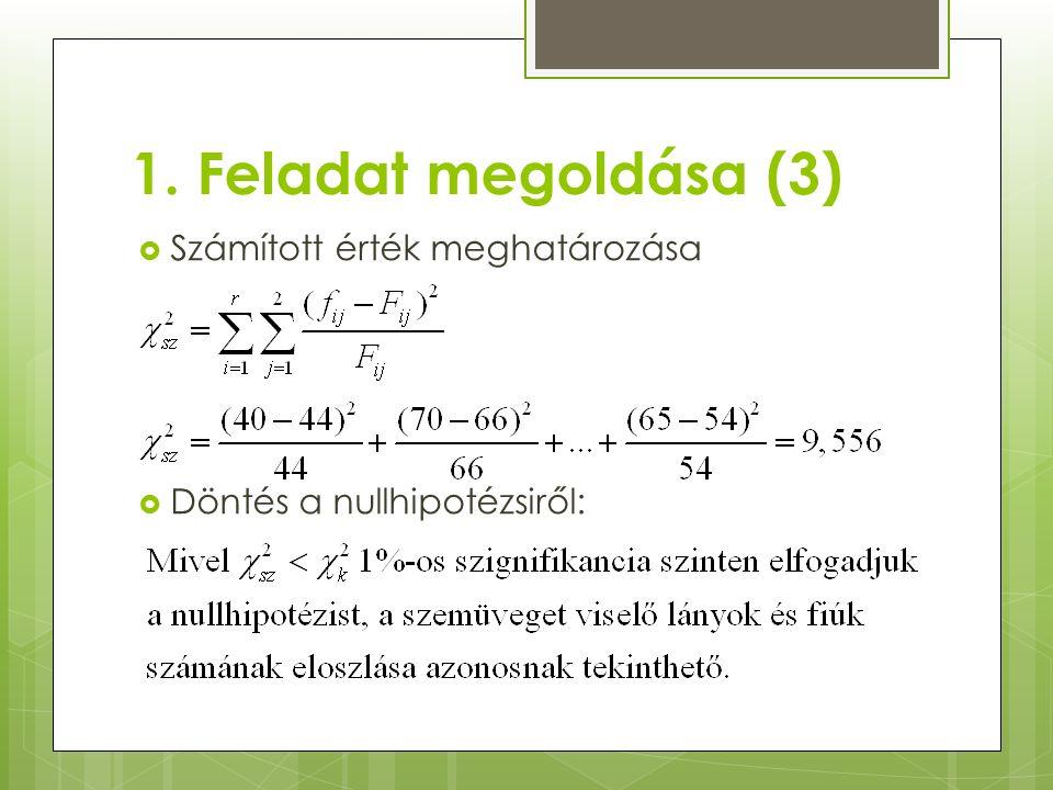 1. Feladat megoldása (3)  Számított érték meghatározása  Döntés a nullhipotézsiről: