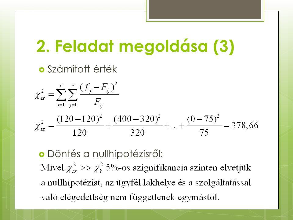 2. Feladat megoldása (3)  Számított érték  Döntés a nullhipotézisről: