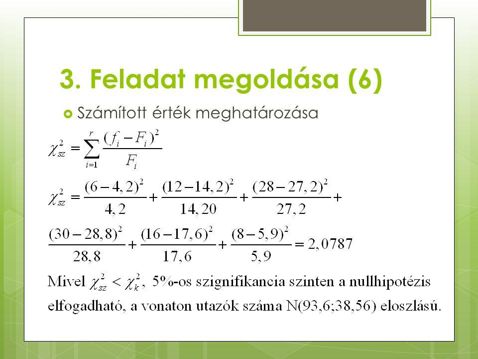 3. Feladat megoldása (6)  Számított érték meghatározása