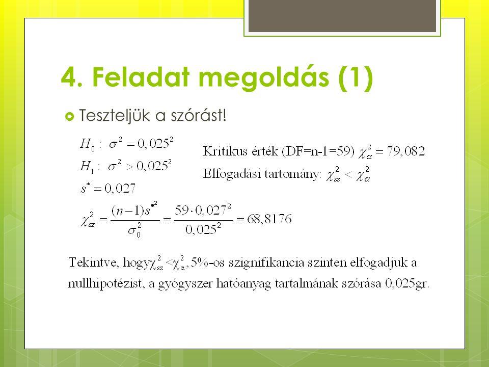 4. Feladat megoldás (1)  Teszteljük a szórást!