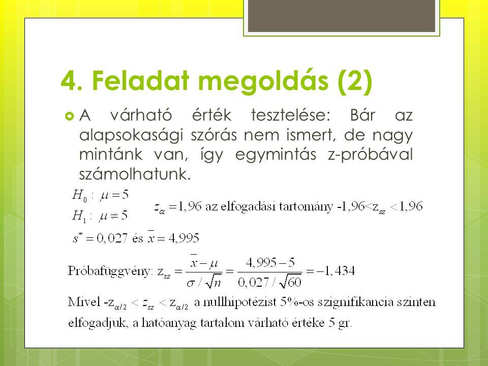 4. Feladat megoldás (2)  A várható érték tesztelése: Bár az alapsokasági szórás nem ismert, de nagy mintánk van, így egymintás z-próbával számolhatun